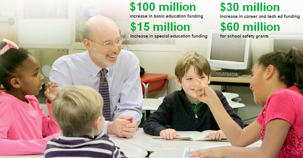 Gov. Tom Wolf and lawmakers supported a budget that makes public education a priority