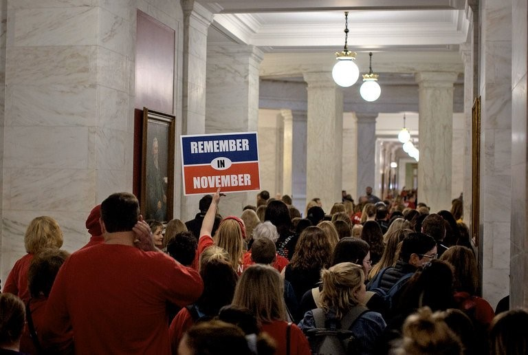 West Virginia teachers protesting